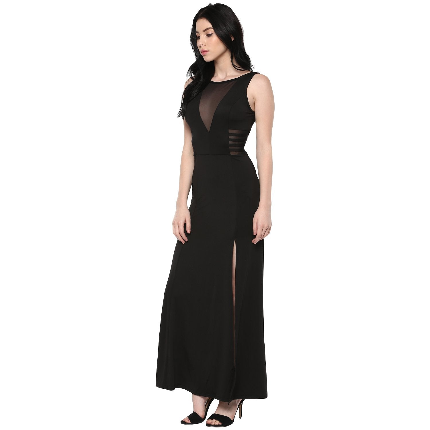 Jaune Transparent Band with Slit Sheer Sheath Gown