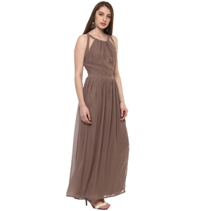 Jaune Solid Bandage Side Cut Maxi Dress