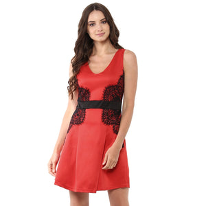 b412fd30dd2b Jaune Premium Elena Black Lace Red Skater Dress – JAUNESTORE