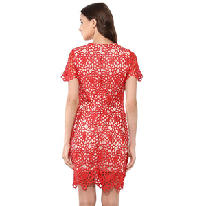 Jaune Honeycomb Glamour Red Shift Dress