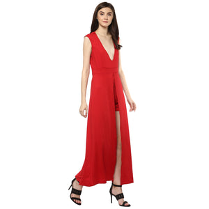 Jaune Plunging V Neck Backless Solid Maxi Dress