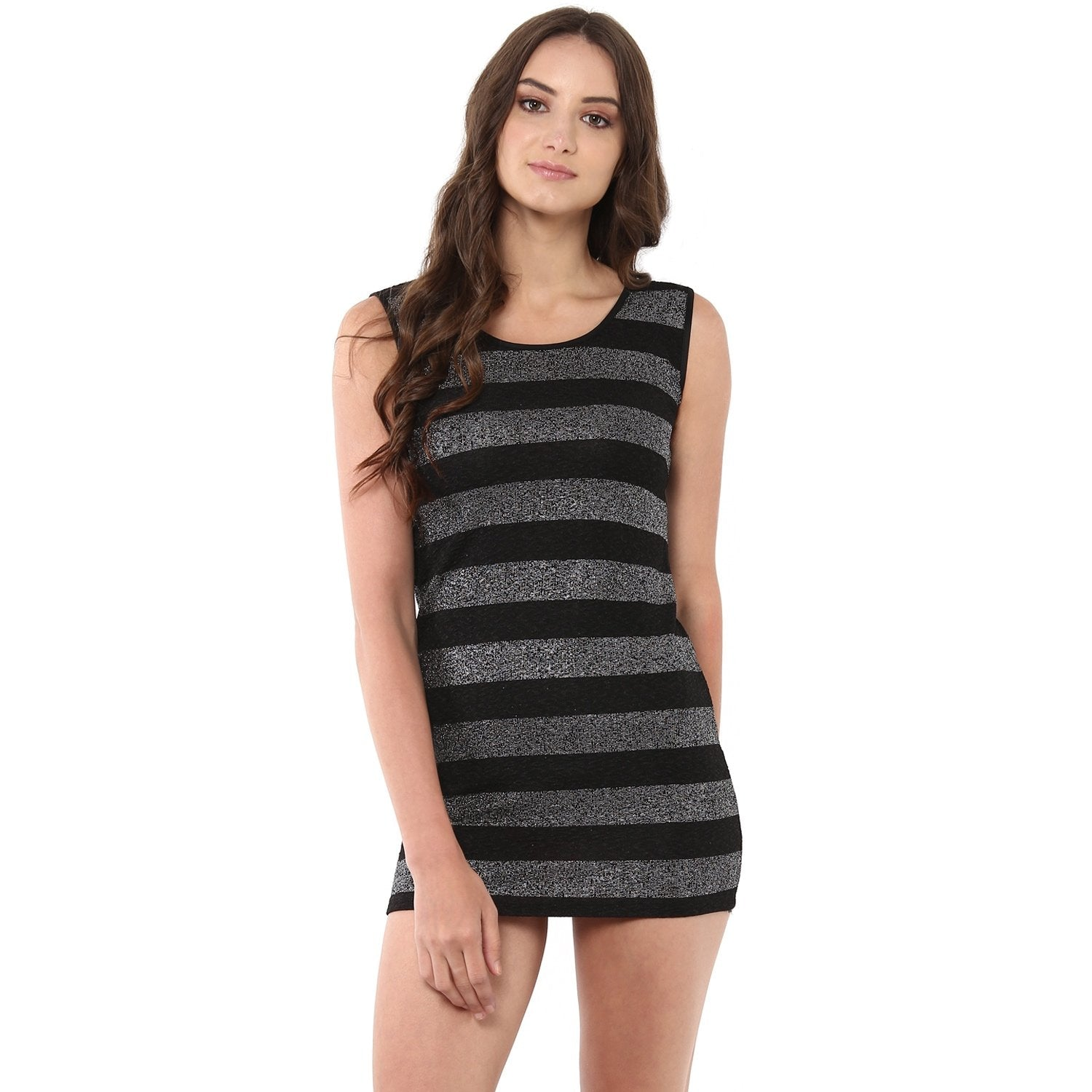 Jaune Black  Striped Shimmery Mini Dress
