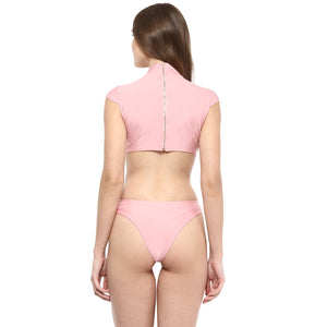 Jaune Rose Gold Cut out Zipper Thing Bodysuit