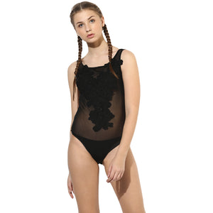 Jaune Black Embriodered Mesh Thong Bodysuit Top