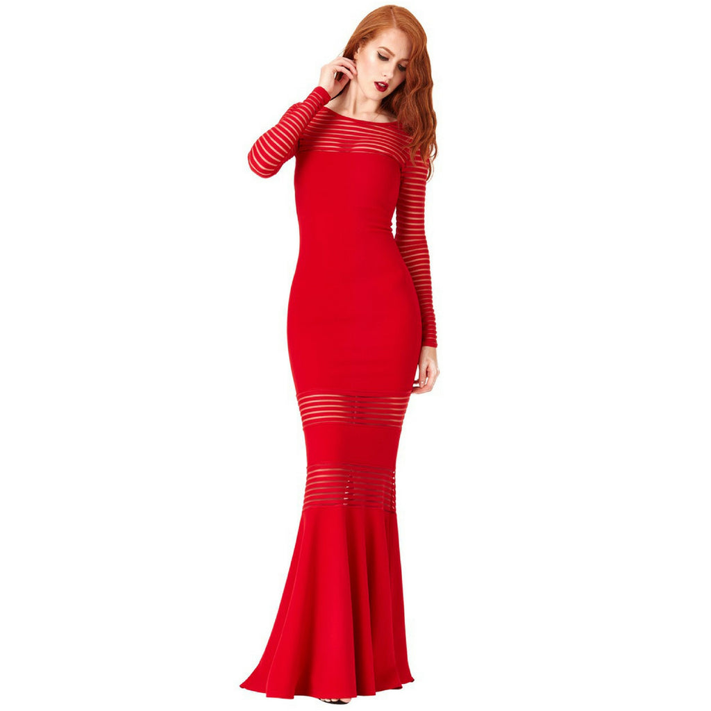 Jaune Transparent Stripes Elegant Mermaid Gown - Red