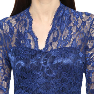 Jaune Alexa Bannett French Lace Sheath Blue Gown