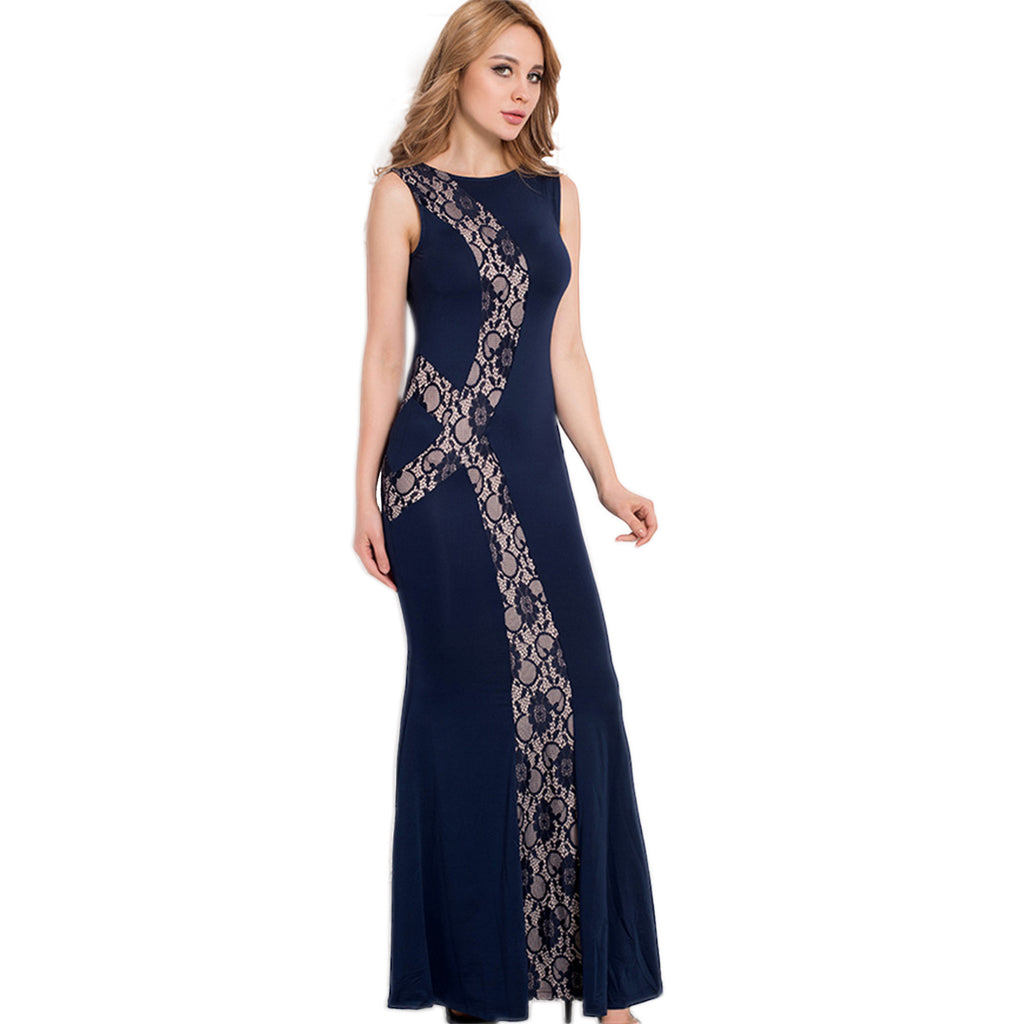 Jaune Designer Lace Midnight Blue Mermaid Gown