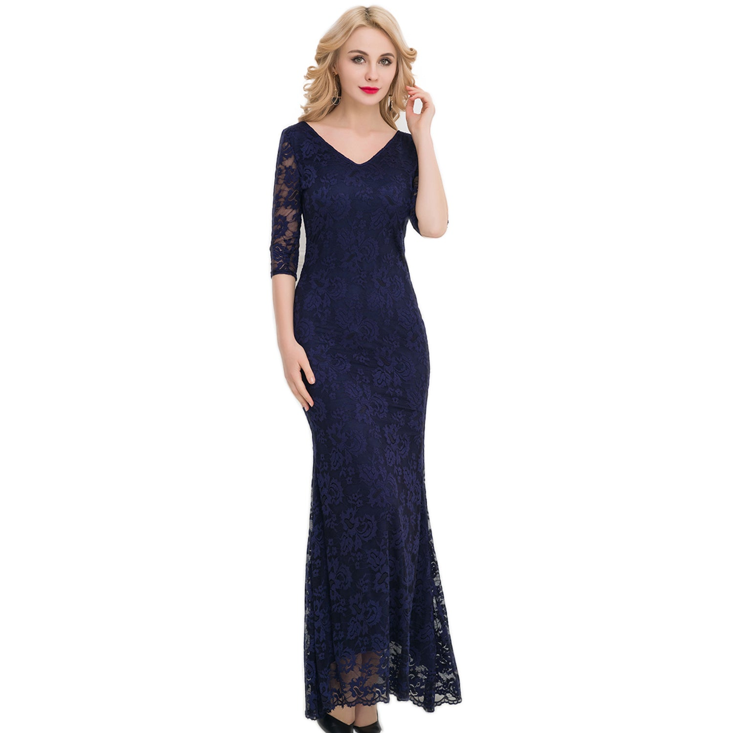 Jaune London Lace Midnight Blue V Neck Queen Ann A Line Gown