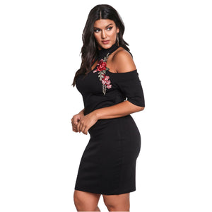 Jaune Black Embroidered Cold Shoulder Sheath Dress