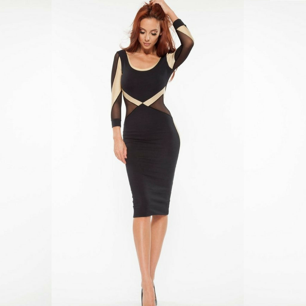 Jaune Black Golden Bandage Sheer Full Sleeve Sheath Dress
