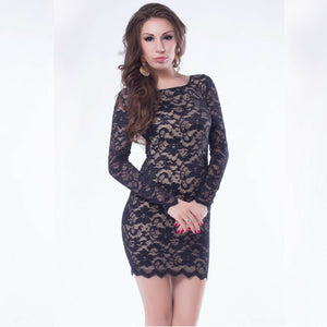 Jaune Beaded European Lace Designer Black Bodycon Dress