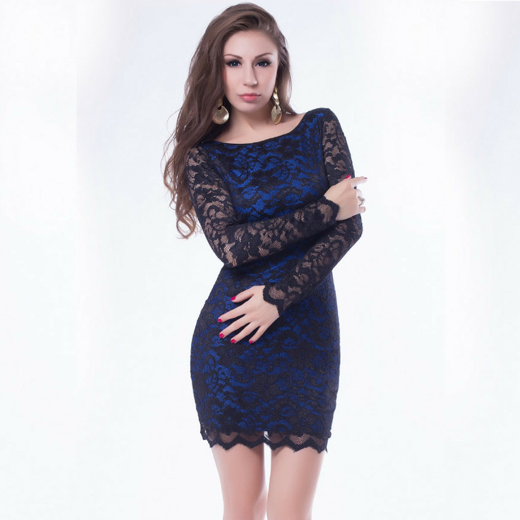 Jaune Beaded European Lace Designer Black Blue Bodycon Dress