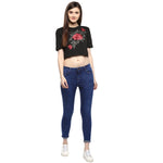 Jaune Floral Embroidered Patch Work Black Crop Top
