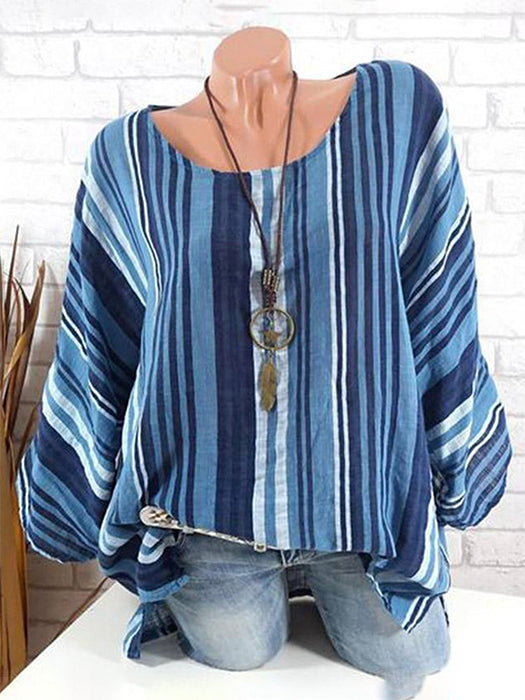 Crew Neck Batwing Striped Blouse