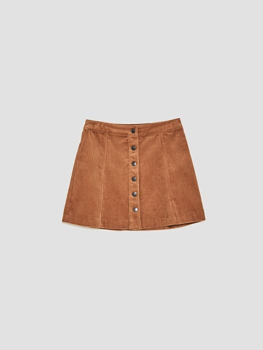 A-line Button Decorated Corduroy Skirt