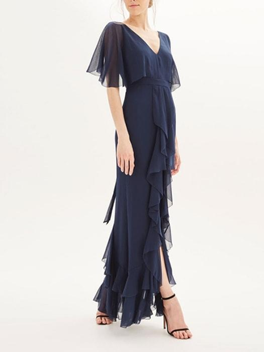 Chiffon See-Through Ruffled Dress