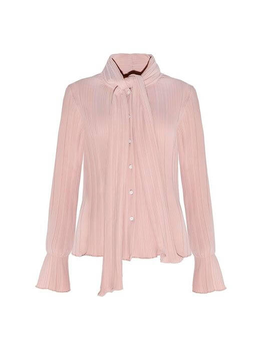 Bowknot Tie Front Single-breasted Chiffon Blouse
