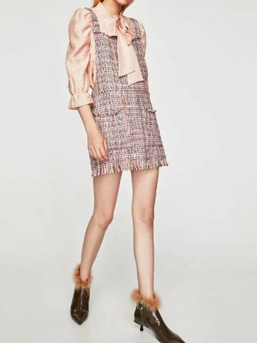 Colorful Plaids Fringed Dress With Front Pockets