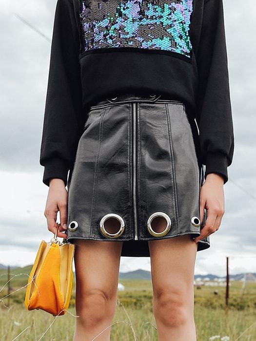 A-line Pierced PU Leather Mini Skirt with Zipper