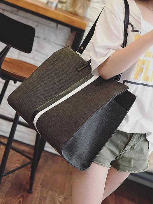 Structured Color Block Tote Bag