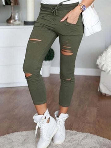 Ruffle Bell Distressed Hem Capri Pants