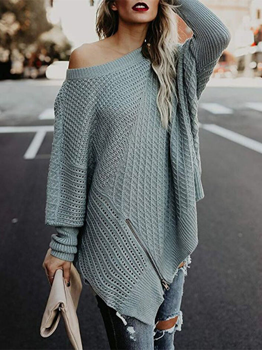 Zipper Knit Batwing Sleeve Sweater