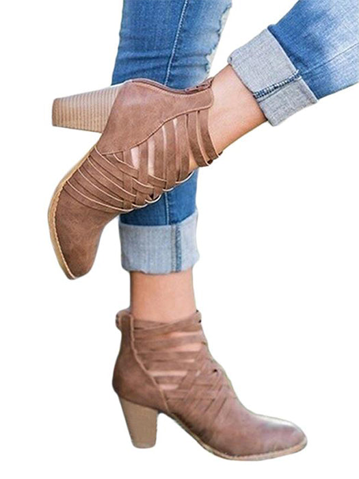 Hollow Out High Heel Ankle Boots