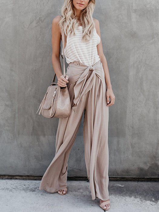 Lace-up High Waisted Office Worker Casual Wide Leg Long Pants