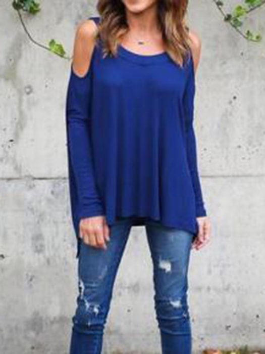 All-match Round Neck Cold Shoulder Top