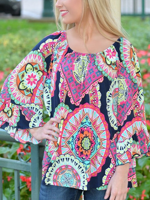 Ethic Floral Print Off Shoulder Loose Beach Dress