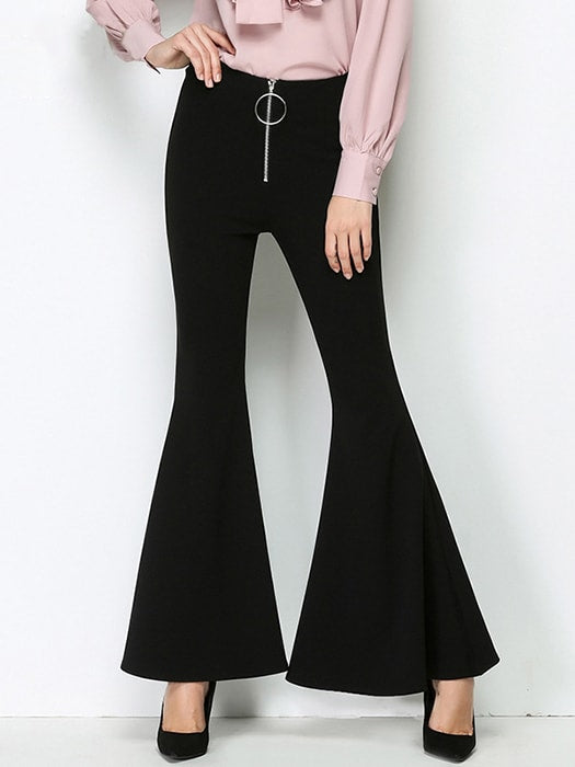 High Waisted Bell-Bottom Trousers With Ring Design