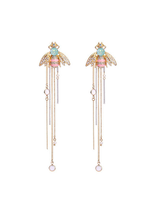Colorful Bee Tassel Earring