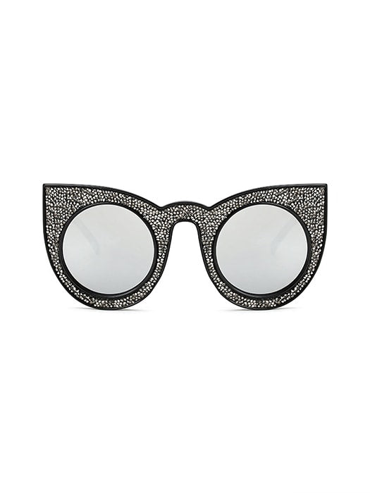 Cat Eye Oversized Round Sunglasses With Light Frame