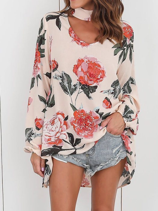 Front Cut Out Floral Pattern Top
