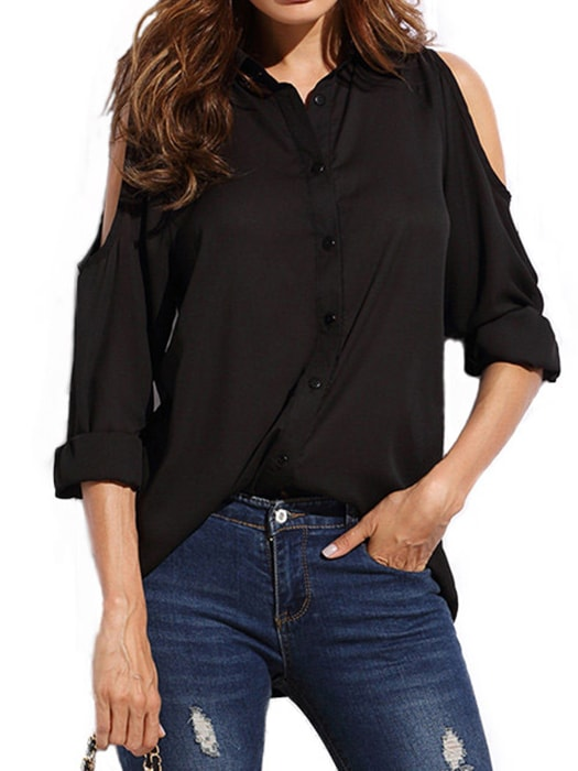 Cold Shoulder Button Up Chiffon T-shirt