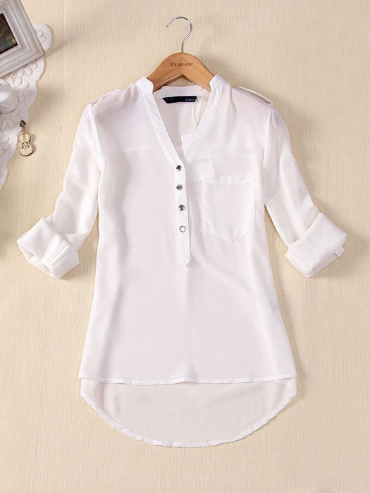 V Neck Loose Casual Chiffon Blouse - S / White 30619LC-S -White