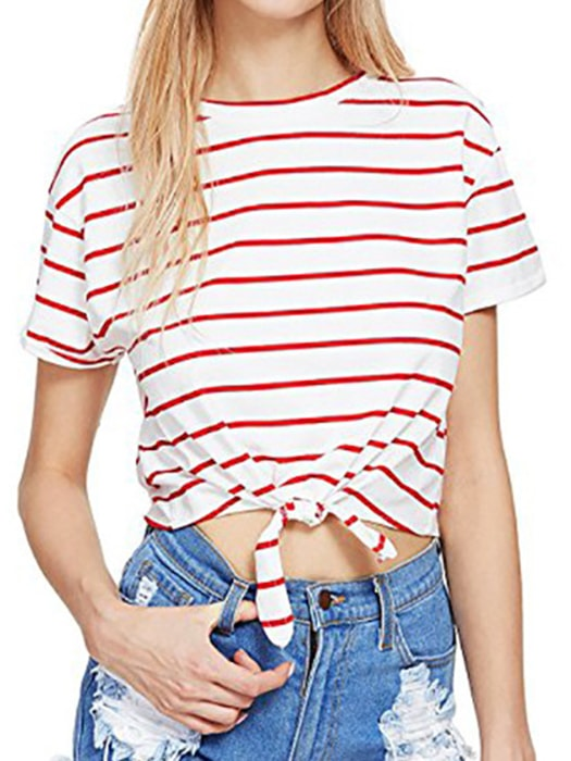 a2fb7d8420 Tie Up Pullover Stripe T-shirt – WhatsMode