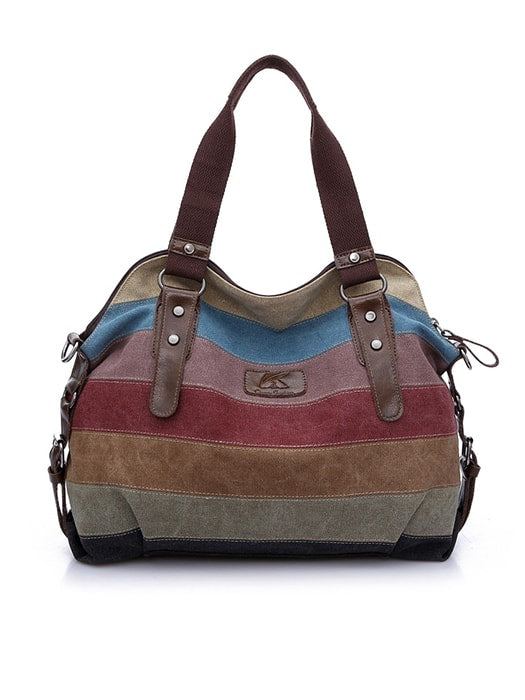 Contrast Color Striped Bag