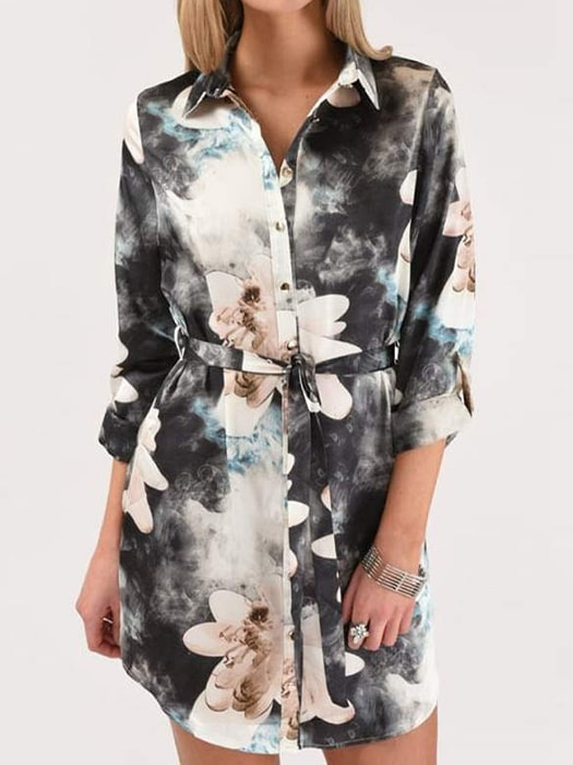 Floral Print Long Sleeve Blouse With Tie