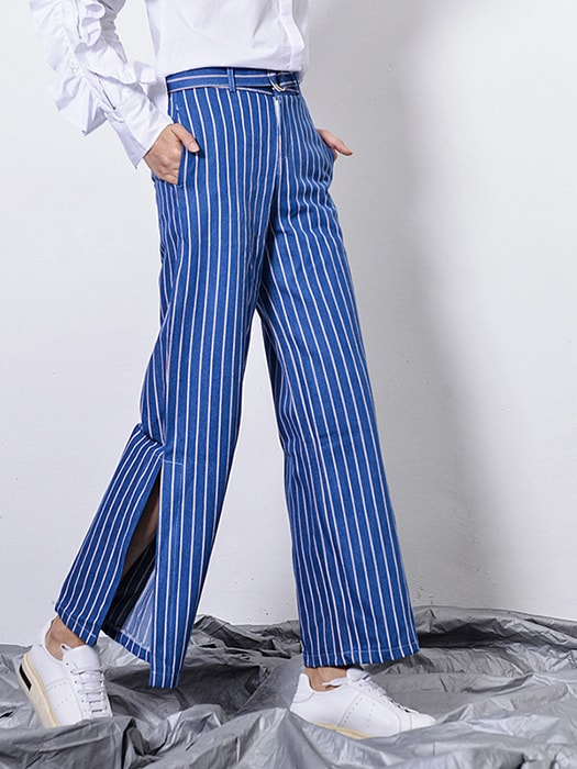 Striped Wide Leg Pants With Split