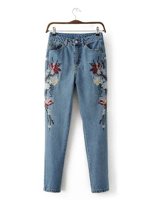 Floral Embroidered Slim Mom Jeans
