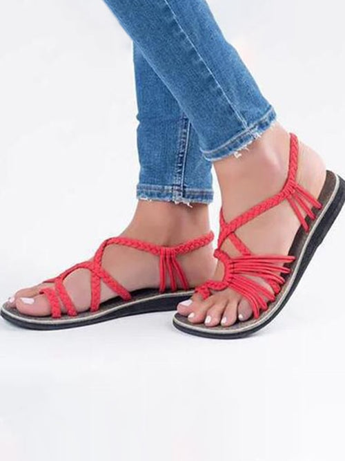 8482b30f79e Toepost Pure Color Flat Sandals