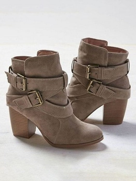 Block Heel Belted Ankle Boots