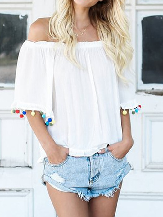 Backless Off-shoulder Loose Ruffled Top