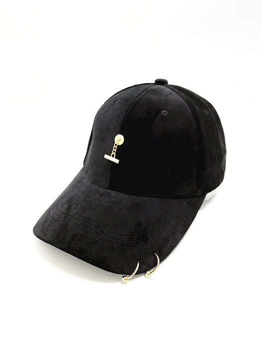 Baseball Cap With Metal Ring And Metal Fall Front