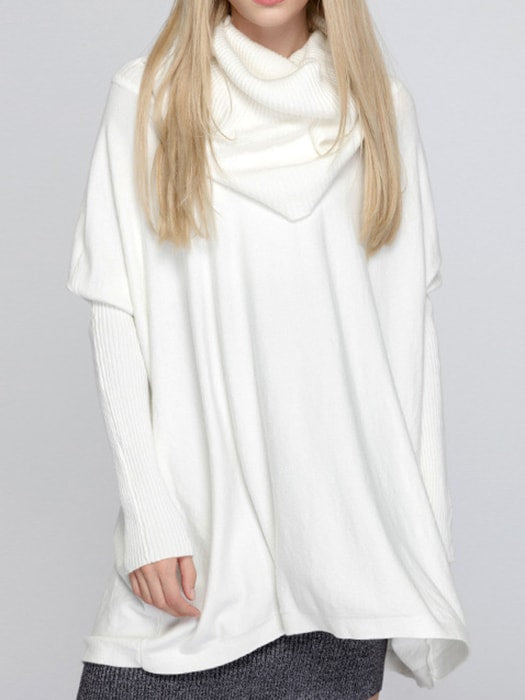 Oversize Cozy Heap Neck Bat-wing Ribbed Sweater - F / White 22699