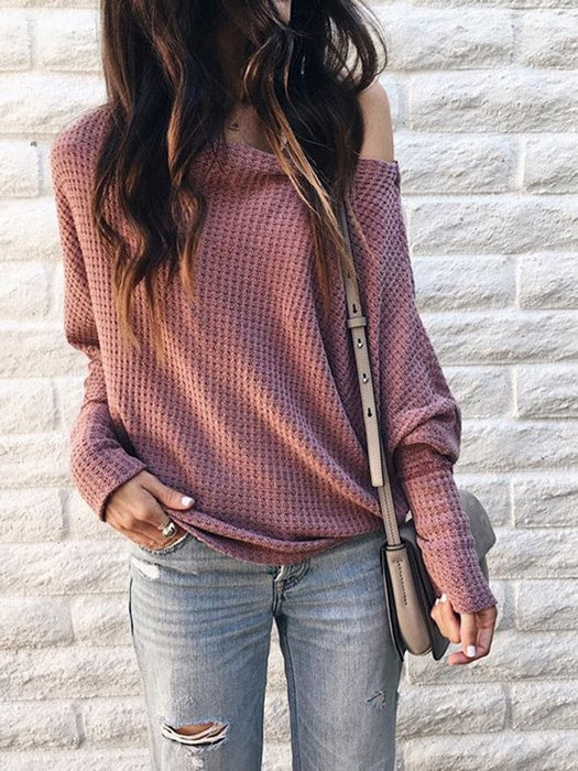 Cable Knit Bat Sleeve Off The Shoulder Top