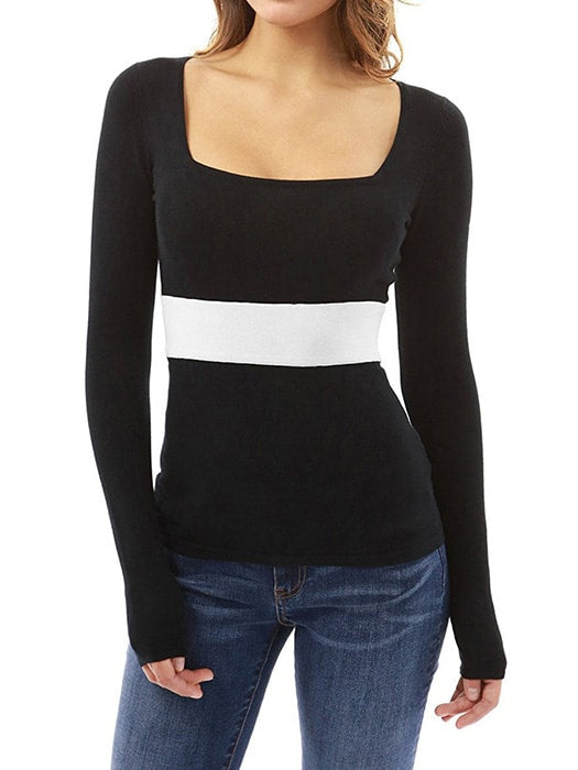 Color Block Square Neck Slim Top