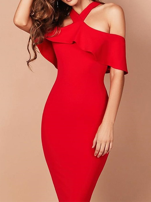 Pencil Dress With Ruffle Trim And Lace Up Strap Detail