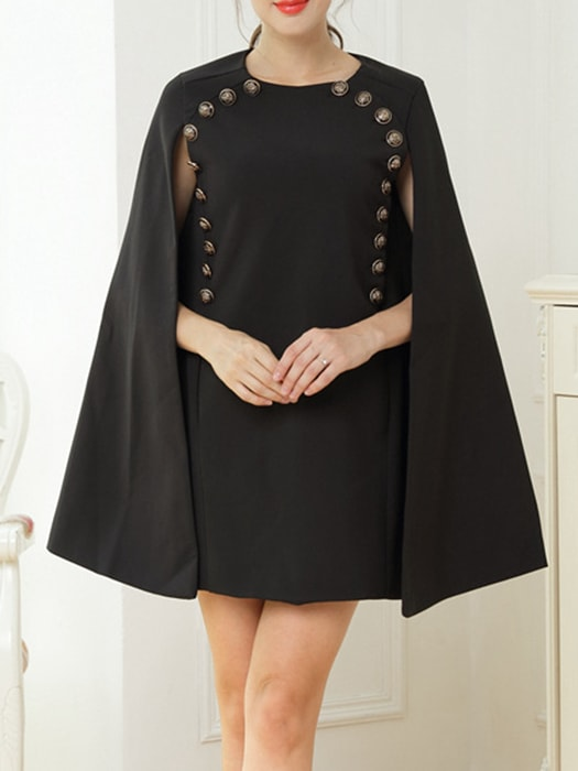 Cape Suit Dress In Black